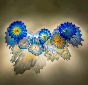 Mavi Renkli Cam Duvar Lambaları Toptan Modern El Yapımı Cam Duvar Aydınlatma Murano Cam Özet Wall Art Işıklar Ücretsiz Kargo