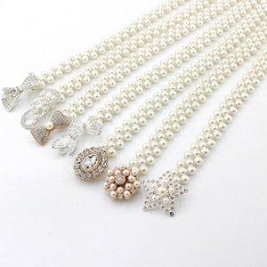 1PC catena donne eleganti perla fibbia della cintura cinghia di vita elastica Pearl femminile cintura ragazze vestono la cinghia di cristallo