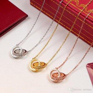 Circle Anhänger mit einreihiger CZ Diamant-Rose Gold-Silber-Farben-Halskette für Frauen-Weinlese-Kragen-Modeschmuck mit Original-Box-Set