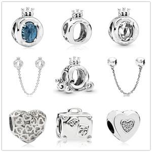 argent charme blanc coeur couronne bleu foncé Livraison gratuite MOQ Perle Pour Bracelet original Pandora Bijoux bricolage pour les femmes J004