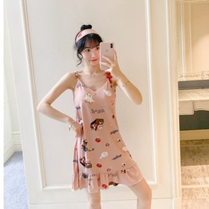 Summer pajamas with suspenders, nightdresses, women's milk silk, sexy, large, loose and thin, lovely dresses, with breast pads and eye masks
