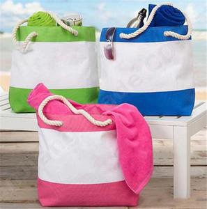 Frauen-Segeltuch-Handtaschen-Patchwork-Farben-gestreifte Schulter-Beutel-Hanfseil-Schulter-Gurt-Strand-Spielraum-Verschiffen bauscht sich heißes A52005
