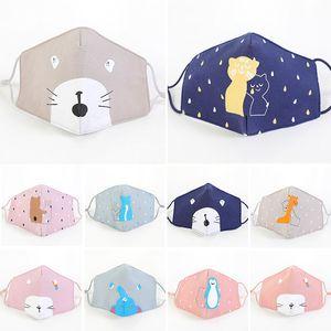 Kids Children Cotton Face Masks Elastic Ear Loop Cartoon Fox Washable Face Mouth Cover Dustproof Sunproof Boy Girl Foldable Mask