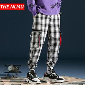 2019 Mens Hip Hop Casual Plaid Pant bolsillos Vintage Joggers pantalones hombres Streetwear Casual Harem pantalones pantalones WG116