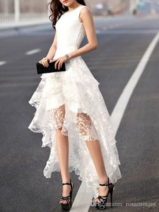 Многоуровневая кружева платье партии белой Моды сексуального платье 2019 Новой вечернее платье 2019 Homecoming платья Newst