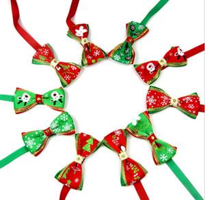 New Pet Welpen Hund Katze Weihnachtsbaum Schneeflocken Bogen Krawatte Krawatte Halskette Kragen bowknot für Tierlieferant Dekoration Kostüm Pflege