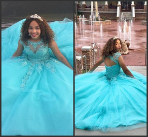 Blue Tulle Ball Gown Prom Dresses 2020 new Quinceanera Dresses lace Applique Beaded Sweet 16 Dresses Vestidos 15 anos