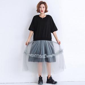 Johnature 2019 O-Boyun Kısa Kollu Rahat Patchwork Örgü Gevşek Kadın Elbiseler Kore Basit Yaz Yeni Elbiseler