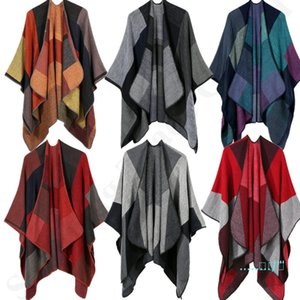 Fashion Lady Pashmina Vintage Plaid Scarf Shawl Knit Wool Wrap Scarves Women Winter Warm Cape Cardigan Blankets Cloak Coat Sweater C91105