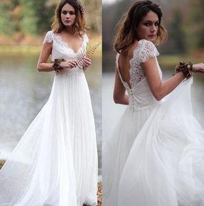 Bohemian Lace Tulle Wedding Dresses Cap Sleeves V-Neck 2020 Summer Beach Bridal Gowns Country Mariage vestido de noiva simple BM1654