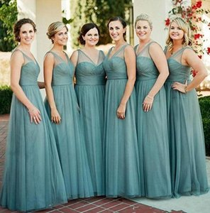 Sexy Hunter V Neck Tulle Sheer Bridesmaid Dresses A Line Floor Length Wedding Guest Dresses Maid of Honor Groups Gowns