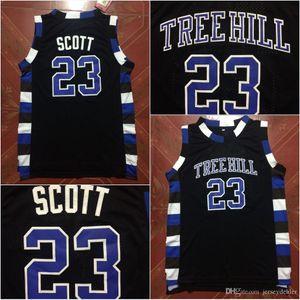 Film de la version Tree Hill Lucas Scott 23 Film Basketball Jersey 100% Cousu dessus du bord Moive Noir S-3XL Livraison rapide
