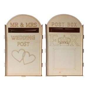 Wooden Wedding Decoration Box Mailbox Royal Post Style Gift Box Paper Container Wedding Birthday Party Business Card Box