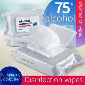 Dezenfeksiyon Mendil Tek El Mendil Cilt Oyuncak Temizleme Bakteriler Dezenfeksiyon Mendilleri Alkol Pamuk Parçalar 50pcs hott