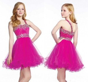 Sweetheart senza maniche Tulle in rilievo vestiti belli da spettacolo per le bambine bambini Prom Dresses una spalla breve Fiore Ragazze festa di compleanno
