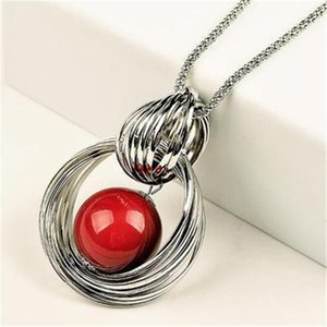 Red Pearl Ball Pendant Long Necklaces New Circles Simulated Women Black Chain Maxi Necklace Fashion Jewelry Wholesale Gift