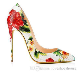 Charm2019 Frauen Aus Echtem Leder High Heel Pumps Floral Schuhe Damen Extreme Heels Echtes Leder Elegante Hochzeit Stiletto Plus