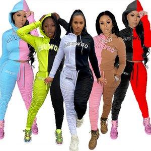 Два цвета для костюмов обшитых панелей Женщин моды Письмо вышивки Hooded Двухкусочных Брюк повседневных Ruched Тонких Костюмы