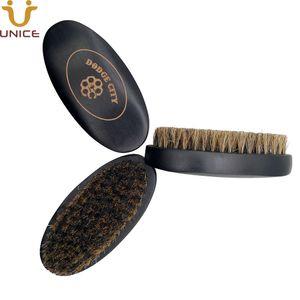 MOQ 50 PC Eber-Borste-Bart-Bürsten-Schwarz-Holzstiel Gesichts-Bürste aus Holz Gesichtsreinigungsbürste für Männer Grooming Customized LOGO