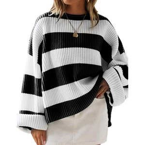 JAYCOSIN Femmes Automne coréenne Casual tricotée en vrac Pull oversize O long cou manches Batwing Pull Pull à rayures 1125
