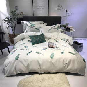 4,6 Pieces Duvet Cover Set White and Green Bedclothes Egyptian Cotton Satin Bedding Set Queen King Size Feathers Bed Linen Full