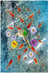 Personnalisé 3D photo murale papier peint pvc auto-adhésif imperméable plancher autocollant mural groupe de poissons koi shell fleur 3D plancher de salle de bains