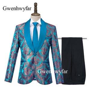 Gwenhwyfar 2020 Nouvelle Corne Jacquard Hommes Smokings bleu paon costumes pour Groom meilleur costume de fête de mariage de vêtements pour hommes Costumes (Blazer + Pantalons)