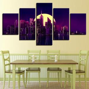 Salon Décoration moderne HD Impression de photos 5 pièces de construction Lune City Night toile Peinture Cadre modulaire Wall Art