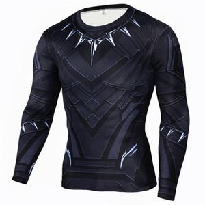 Camisa Negro Pantera compresión de los hombres de Crossfit de manga larga camiseta de los hombres El flash Imprimir capa superiores de la aptitud Base Marca Ropa