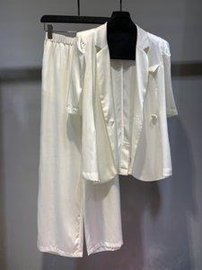 2020 new ladies fashion silk suit lace jacket + trousers 2 piece set 0606
