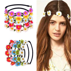 Delle signore delle donne Moda Solid ghirlanda floreale artificiale fascia Summer Holiday Beach Party Decor Beauty