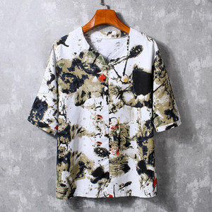 Summer New Men's Shirt Chinese Ink Print Top Round Neck Short Sleeve Casual Loose Fashion Hawaiian men's shirt