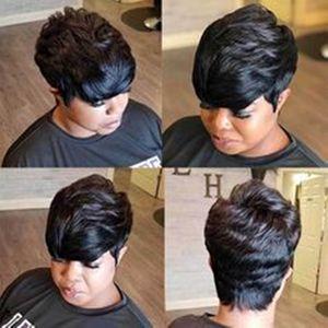 Пикси парики фронта шнурка с челкой нет кружева без шапки бразильский Glueles человеческие волосы короткие Pixie Cut парик для женщин