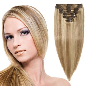 Top Quality Customized Unprocessed Remy Cheap Blonde 613# 100% Human Hair Clip In Hair Extension for woman