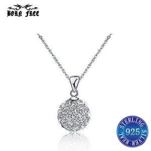 925 sterling silver Shambhala Bola De Cristal Pingente de colar femme mujer pingentes pendentif moda jóias bijoux en argent 925