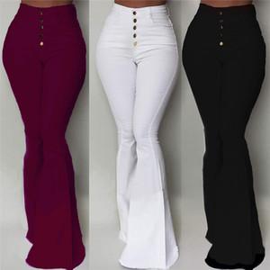 Calças Gaoke Branco-de-sino Mulheres Botão cintura alta Alargamento Pants New calças slim Casual Trabalho elegante Pantalon Femme