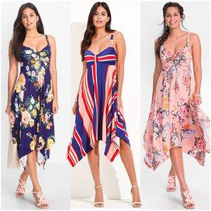 Fairy2019 Xia Spring Ladies Irregular Will Camisole Vestido sin mangas Impresión Falda Productos en stock