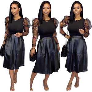 Новейшая черная Мода PU женщины юбка Две часть наборы осень сетка Ruffles верхней и линия колено Юбка Повседневных наряды Real Images