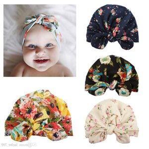 Yeni Tasarım Avrupa Abd Bebek Yay-düğüm Çiçek Baskılı Hedging Kap Sevimli Boygirl Saç Aksesuarları Pamuk 100% Bunny kulakları