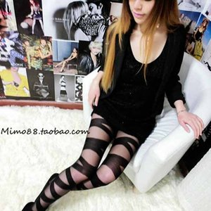 Womens Sexy Tights Striped Personality Stockings Girls Cross Straps Fashion Pantyhose Stockings 2020 Fashion Style Womens Lace Stocking