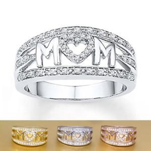 Presente do dia MOM Anel Carving Bandas Love Letter Zircon Coração MOM Moda Anel Rose Gold Silver de mãe para a mãe moda jóias presente barato