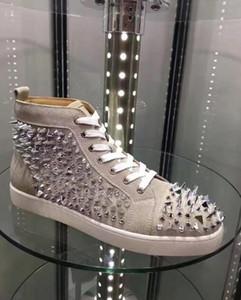 Sıcak Sezon Kırmızı Alt erkek / kadın Glitter Deri Pik Pik Spike Sneakers Markalar Çiviler Rahat Ayakkabılar Konfor Ünlü Yürüyüş Ücretsiz Kargo