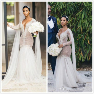 2020 Arabic Aso Ebi Sexy Luxurious Lace Wedding Dresses Beaded Crystals Bridal Dresses Mermaid Wedding Gowns