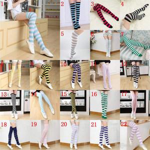 22 Cores joelho listrado meias altas para meninas grandes Adulto estilo japonês zebra da coxa meias altas Primavera Meias 2pcs / pair