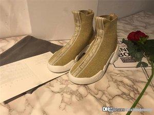 zapatos punto 2019Dor F. Dos tejido de punto cero las zapatillas de deporte de alta superior corriendo oro blanco con la caja original