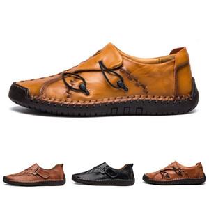 Büyük Olmayan Marka Hand'in dikiş erkekler rahat ayakkabılar ayarlamak ayak İngiltere bezelye ayakkabı deri erkek ayakkabıları düşük
