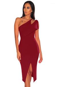 Hueco de Bodycon de un hombro-partido de las mujeres de Split Vestidos de las señoras atractivas de los vestidos del lápiz con paneles Diseñador flaco