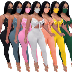 Women summer jumpsuits with face mask sexy V neck sleeveless Lace-up high stretch rompers slim pants Clubwear Onesies bodysuit Playsuits