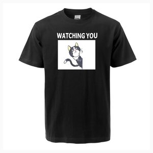 Animal Cat Watching You Funny Print T Shirt 2020 Summer New Men Short Sleeve O-neck High Quality Cotton Casual Fashion Tops Tee