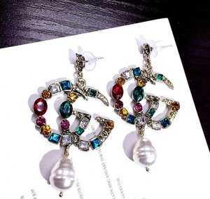 2019 Diseñador Stud Pendientes para mujeres Joyas Shinning Silver Color CZ Crystal Gold Double Letter Earrings para Party Wedding Gift